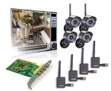 Lorex QLR464WB 4-Channel PCI DVR Card with 4 Digital Wireless Indoor/Outdoor Night Vision Camera (Black)