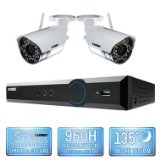 Lorex LX425W 4 Channel Wireless Security System with 500GB Hard Drive, 2 480TVL Cameras, and 90/135′ Night Vision
