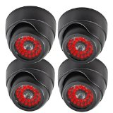 Masione® 4 Pack Indoor Otdoor CCTV Fake Dummy Dome Security Camera Home Surveillance Camera with 30 Red Illuminating LED Light & Warning Security Alert Sticker Decals